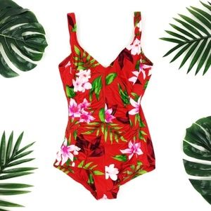 🎉HP Vintage Hawaiian Floral Hipster One-Piece S/M